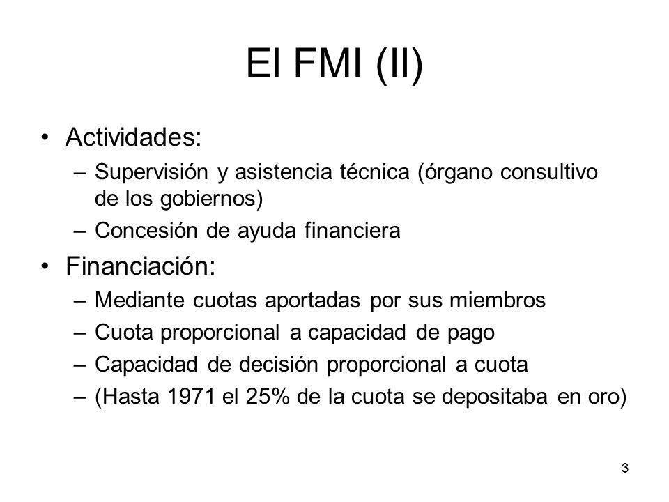 El FMI (II) Actividades: Financiación: