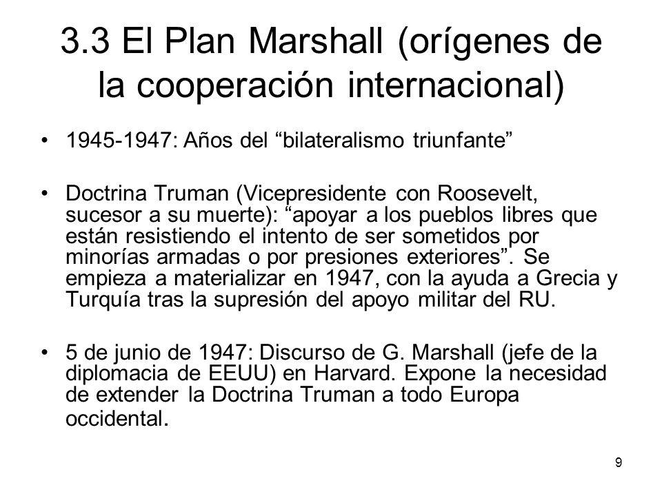 3.3 El Plan Marshall (orígenes de la cooperación internacional)