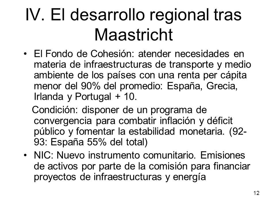 IV. El desarrollo regional tras Maastricht