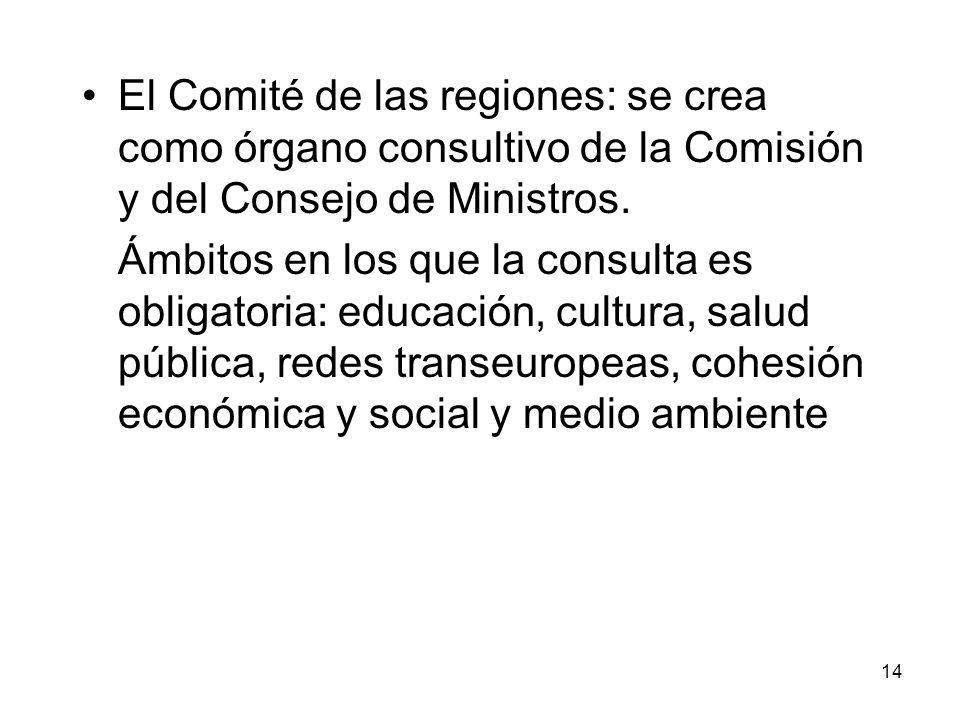 El Comité de las regiones: se crea como órgano consultivo de la Comisión y del Consejo de Ministros.