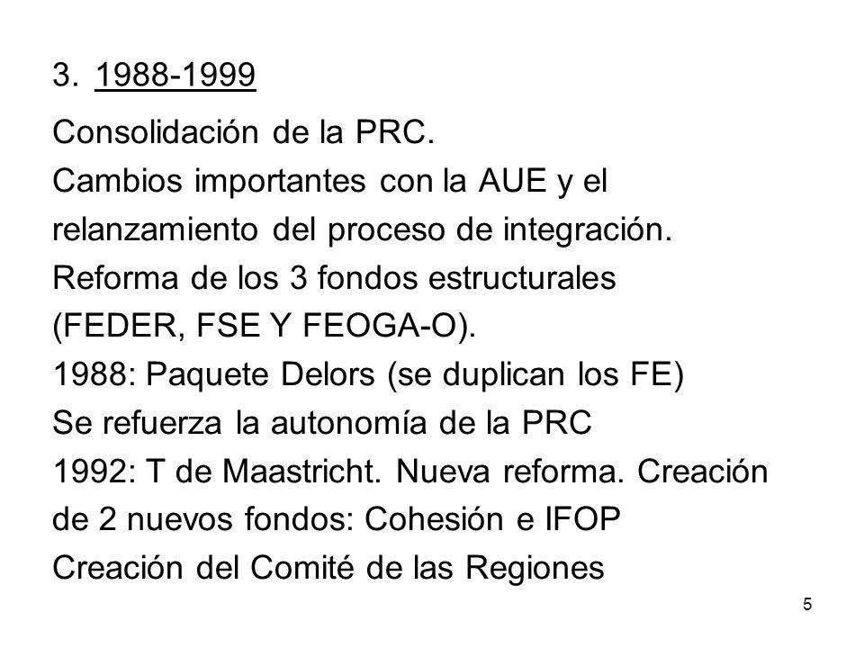 3. 1988-1999 Consolidación de la PRC. Cambios importantes con la AUE y el. relanzamiento del proceso de integración.