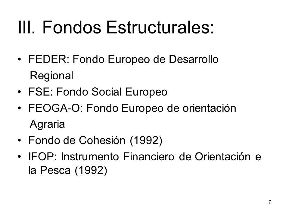 III. Fondos Estructurales: