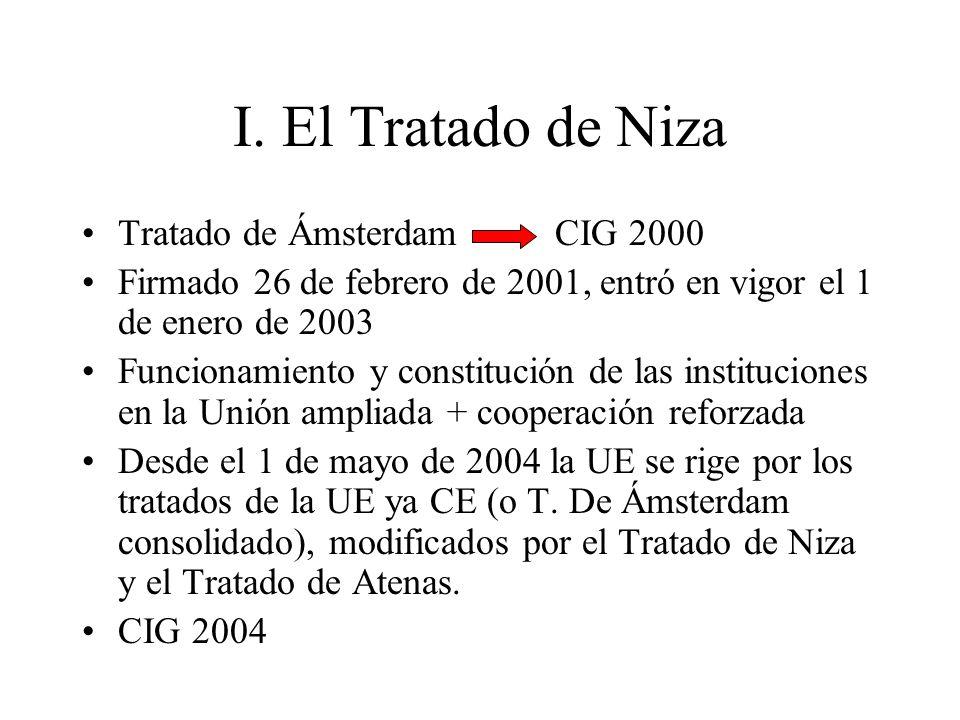 I. El Tratado de Niza Tratado de Ámsterdam CIG 2000