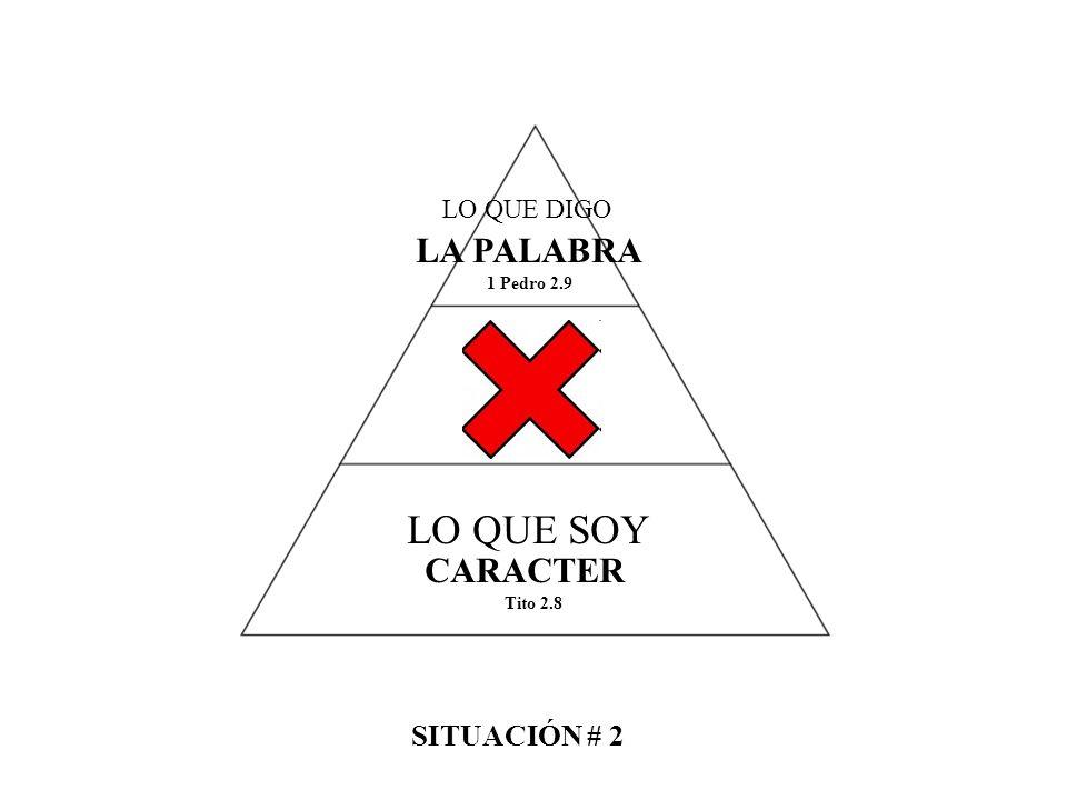 LO QUE SOY LA PALABRA CARACTER SITUACIÓN # 2 LO QUE DIGO 1 Pedro 2.9