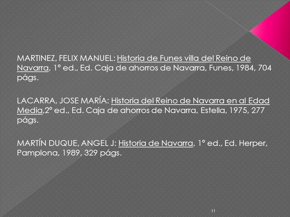 MARTINEZ, FELIX MANUEL: Historia de Funes villa del Reino de Navarra, 1º ed., Ed. Caja de ahorros de Navarra, Funes, 1984, 704 págs.