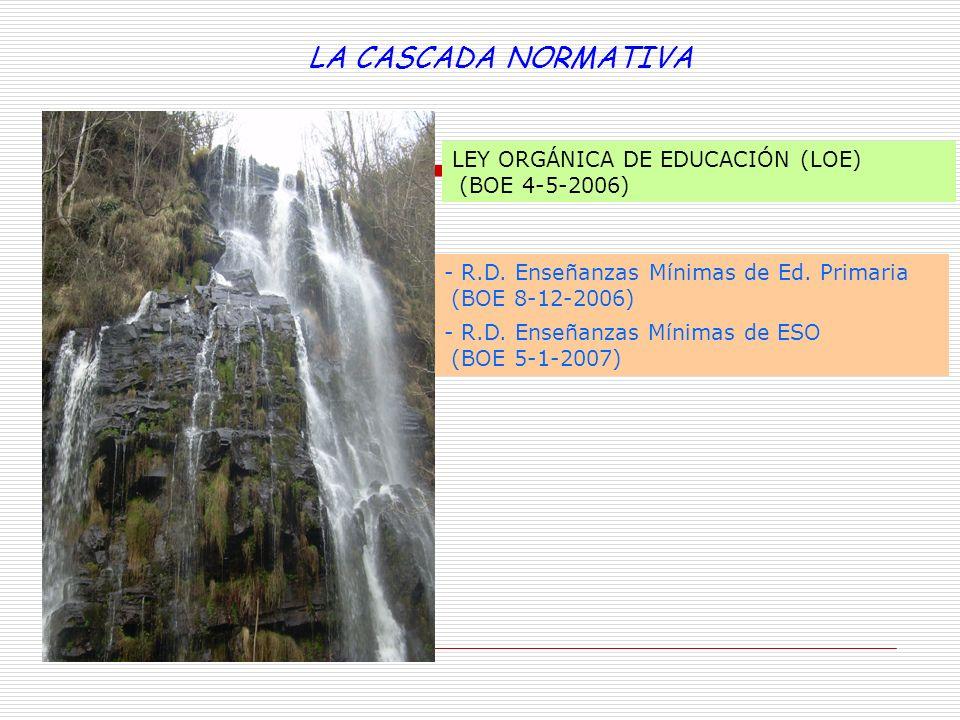 LA CASCADA NORMATIVA LEY ORGÁNICA DE EDUCACIÓN (LOE) (BOE 4-5-2006)