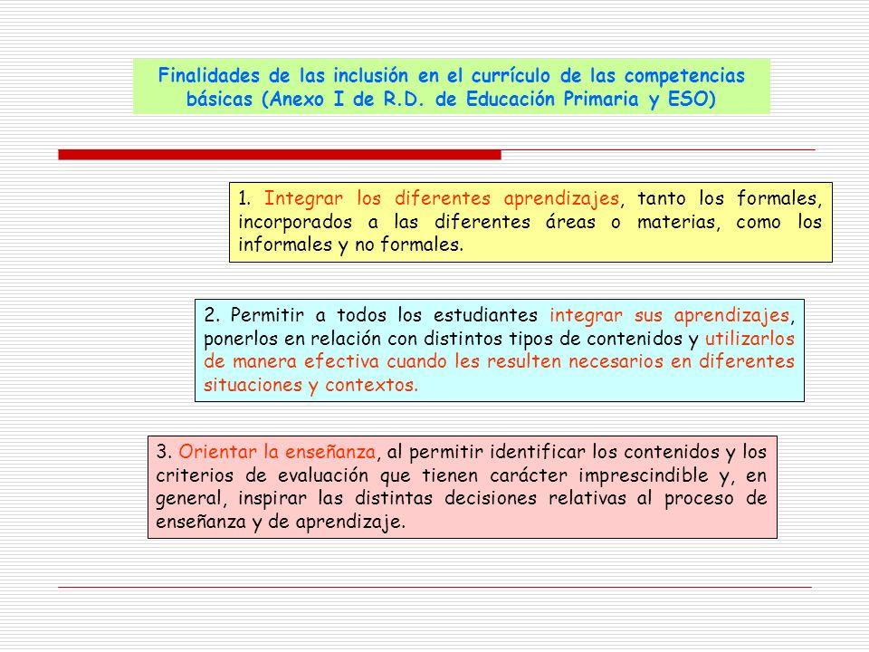 Finalidades de las inclusión en el currículo de las competencias básicas (Anexo I de R.D. de Educación Primaria y ESO)