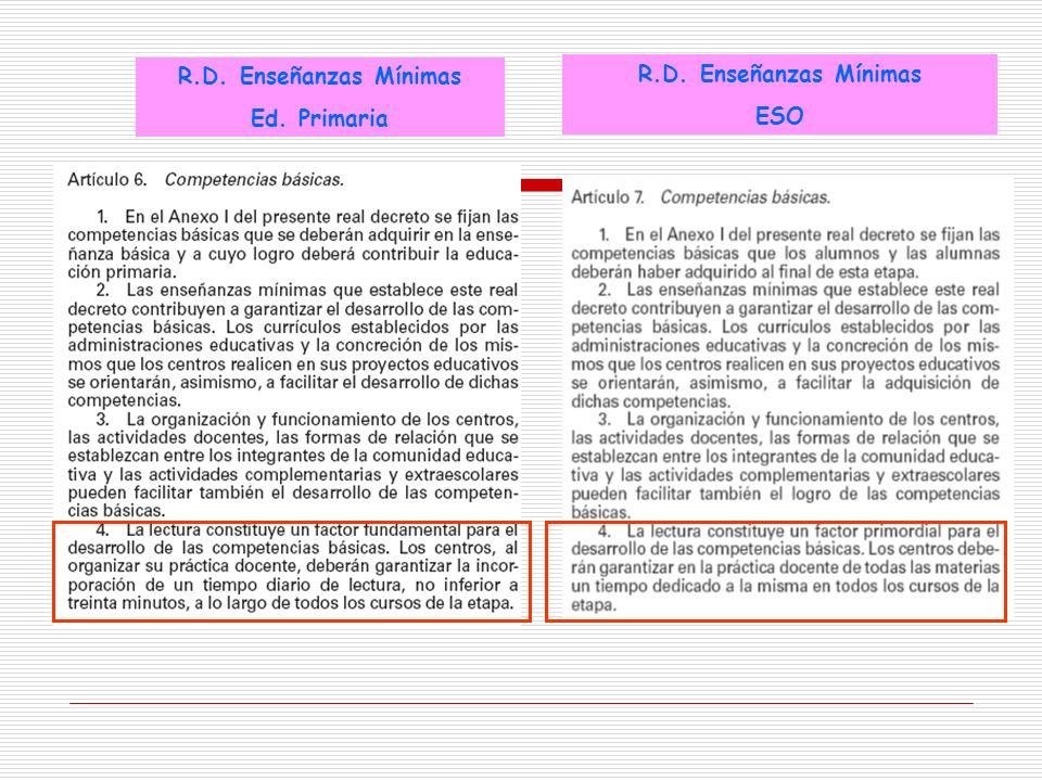 R.D. Enseñanzas Mínimas Ed. Primaria R.D. Enseñanzas Mínimas ESO