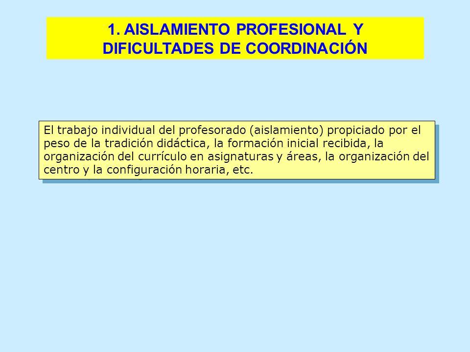1. AISLAMIENTO PROFESIONAL Y DIFICULTADES DE COORDINACIÓN