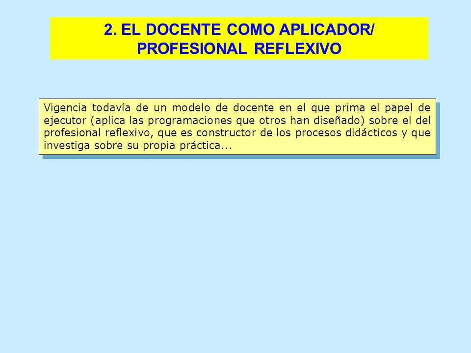 2. EL DOCENTE COMO APLICADOR/ PROFESIONAL REFLEXIVO