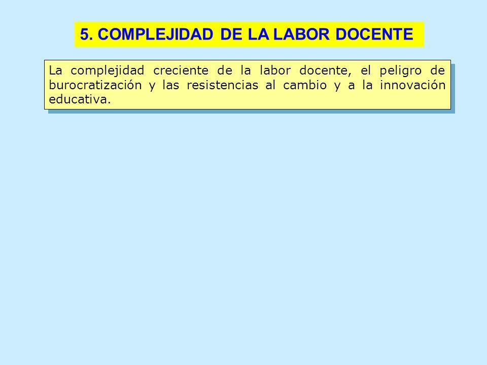 5. COMPLEJIDAD DE LA LABOR DOCENTE 3. ¿EXCESO DE CONTENIDOS