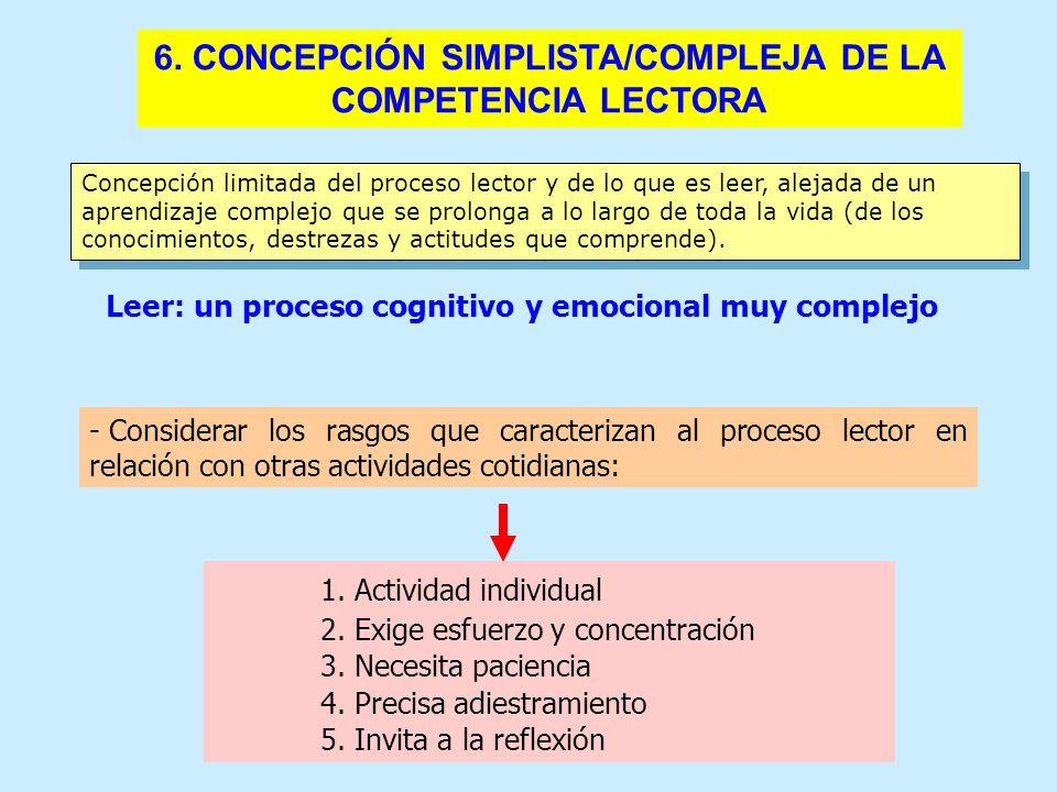 6. CONCEPCIÓN SIMPLISTA/COMPLEJA DE LA COMPETENCIA LECTORA