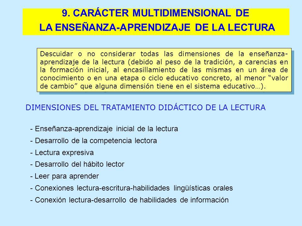 9. CARÁCTER MULTIDIMENSIONAL DE LA ENSEÑANZA-APRENDIZAJE DE LA LECTURA