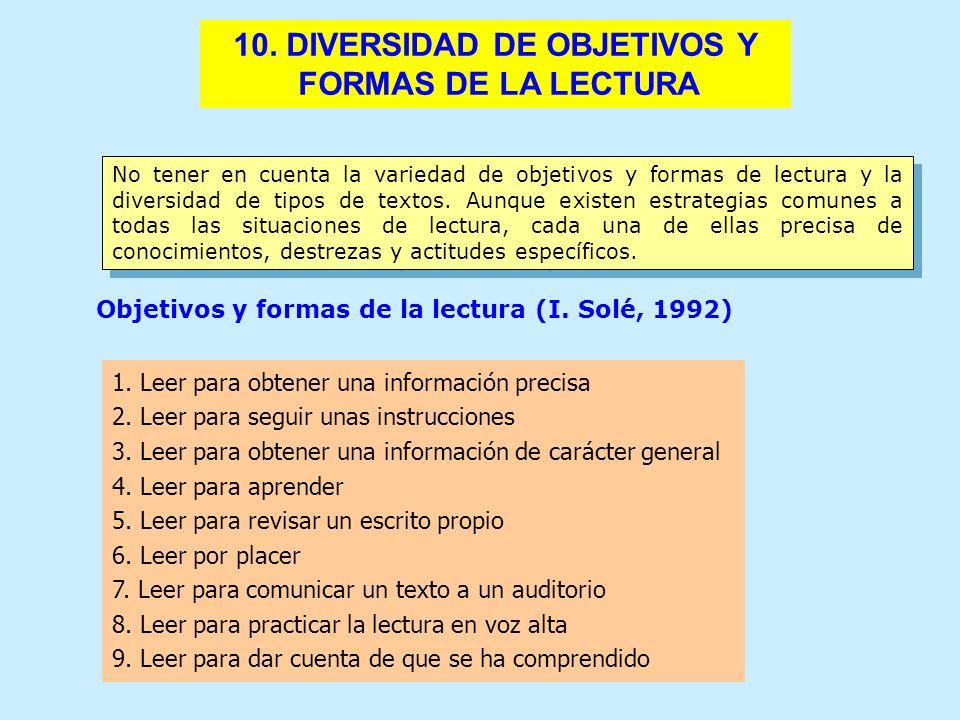 10. DIVERSIDAD DE OBJETIVOS Y