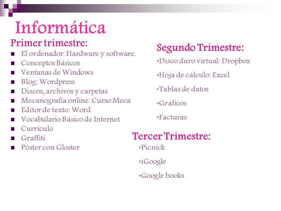 Informática Primer trimestre: Segundo Trimestre: Tercer Trimestre: