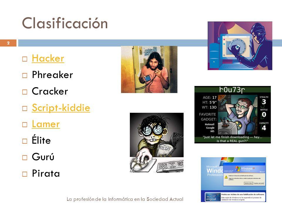 Clasificación Hacker Phreaker Cracker Script-kiddie Lamer Élite Gurú