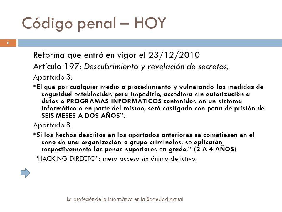 Código penal – HOY Reforma que entró en vigor el 23/12/2010