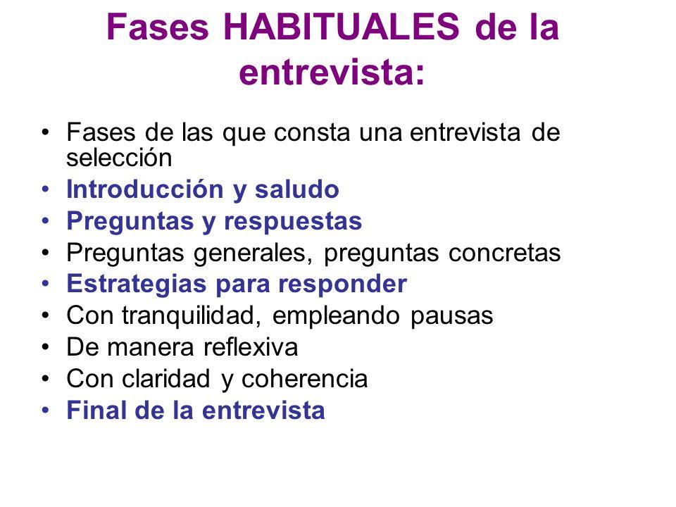 Fases HABITUALES de la entrevista: