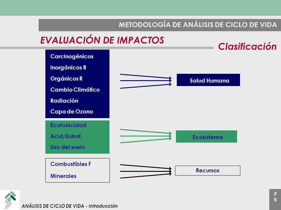 EVALUACIÓN DE IMPACTOS Clasificación