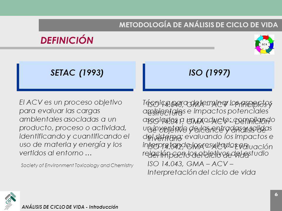 DEFINICIÓN SETAC (1993) ISO (1997)