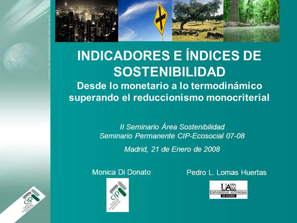 INDICADORES E ÍNDICES DE SOSTENIBILIDAD