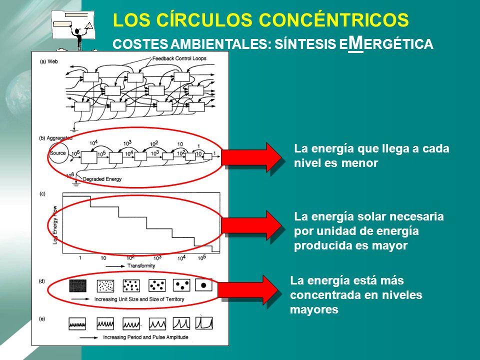 LOS CÍRCULOS CONCÉNTRICOS COSTES AMBIENTALES: SÍNTESIS EMERGÉTICA