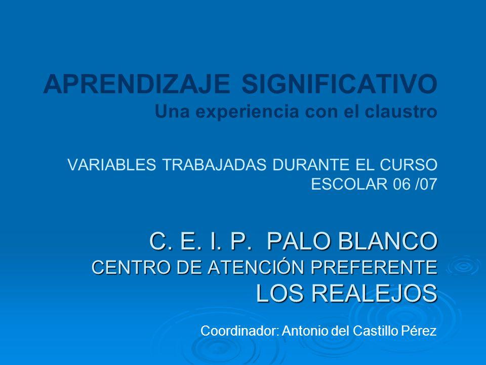 APRENDIZAJE SIGNIFICATIVO Una experiencia con el claustro VARIABLES TRABAJADAS DURANTE EL CURSO ESCOLAR 06 /07 C. E. I. P. PALO BLANCO CENTRO DE ATENCIÓN PREFERENTE LOS REALEJOS