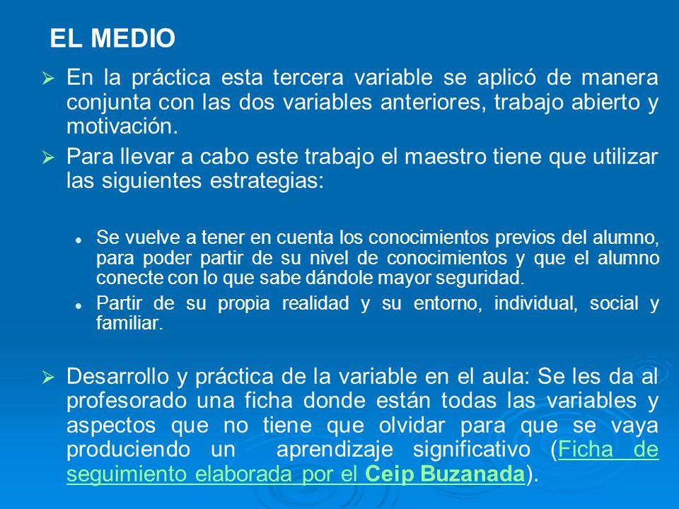 EL MEDIO En la práctica esta tercera variable se aplicó de manera conjunta con las dos variables anteriores, trabajo abierto y motivación.