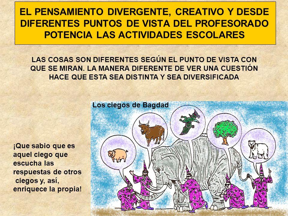EL PENSAMIENTO DIVERGENTE, CREATIVO Y DESDE DIFERENTES PUNTOS DE VISTA DEL PROFESORADO POTENCIA LAS ACTIVIDADES ESCOLARES