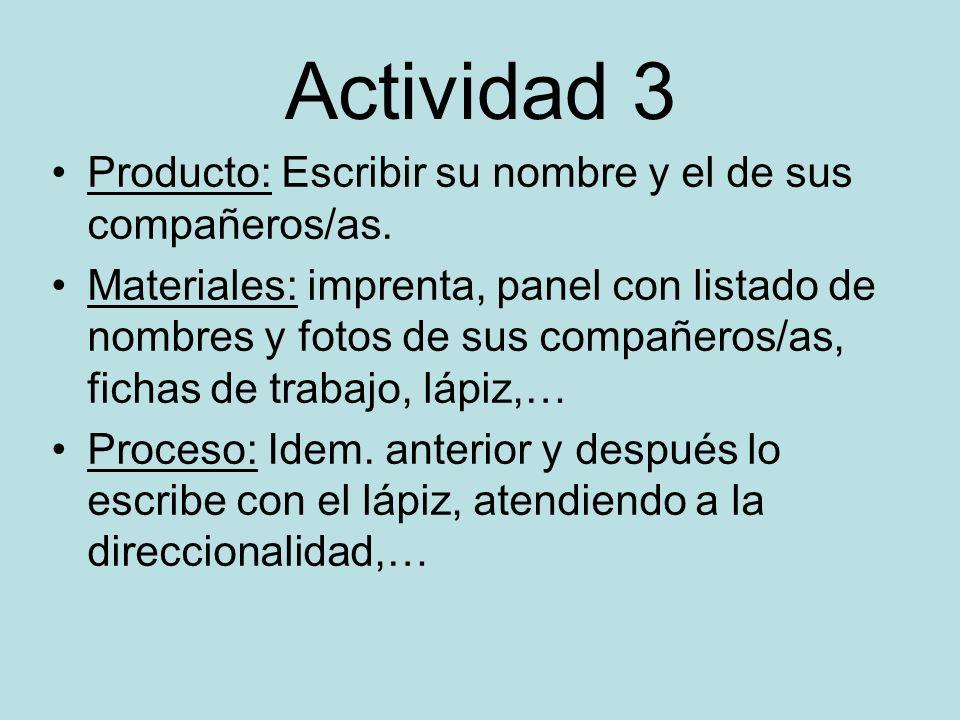 Actividad 3 Producto: Escribir su nombre y el de sus compañeros/as.