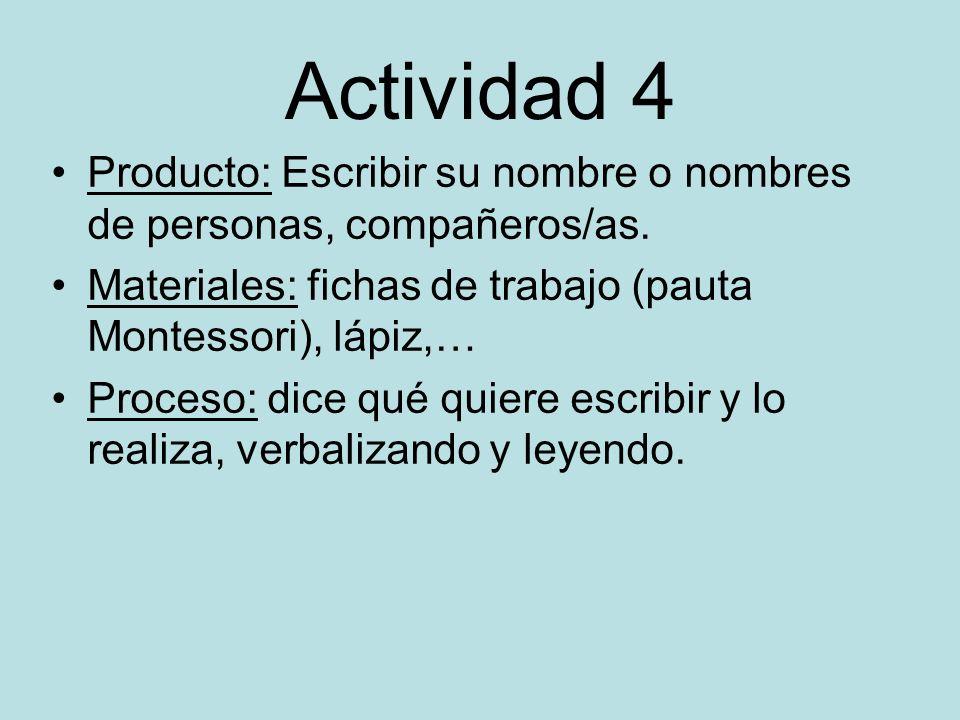 Actividad 4 Producto: Escribir su nombre o nombres de personas, compañeros/as. Materiales: fichas de trabajo (pauta Montessori), lápiz,…