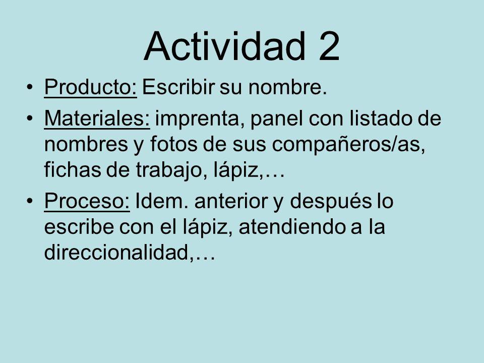 Actividad 2 Producto: Escribir su nombre.