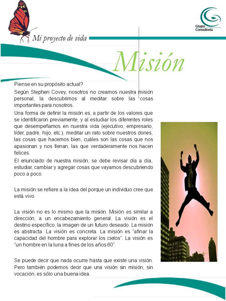 Misión Piense en su propósito actual