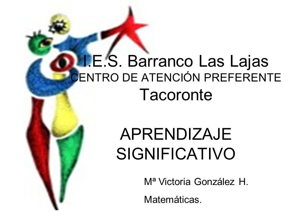 I.E.S. Barranco Las Lajas CENTRO DE ATENCIÓN PREFERENTE Tacoronte APRENDIZAJE SIGNIFICATIVO
