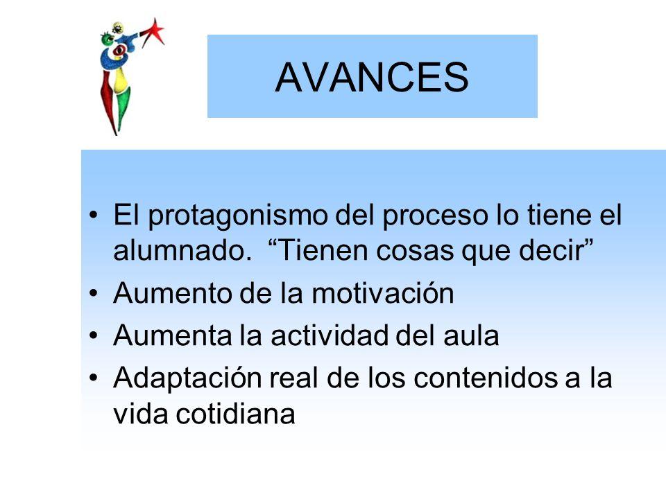 AVANCES El protagonismo del proceso lo tiene el alumnado. Tienen cosas que decir Aumento de la motivación.