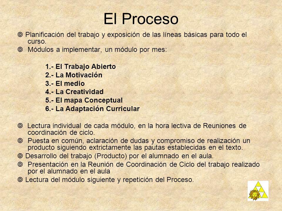 El Proceso  Planificación del trabajo y exposición de las líneas básicas para todo el curso. Módulos a implementar, un módulo por mes: