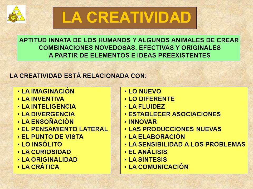 LA CREATIVIDAD APTITUD INNATA DE LOS HUMANOS Y ALGUNOS ANIMALES DE CREAR. COMBINACIONES NOVEDOSAS, EFECTIVAS Y ORIGINALES.