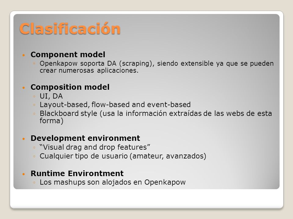 Clasificación Component model Composition model