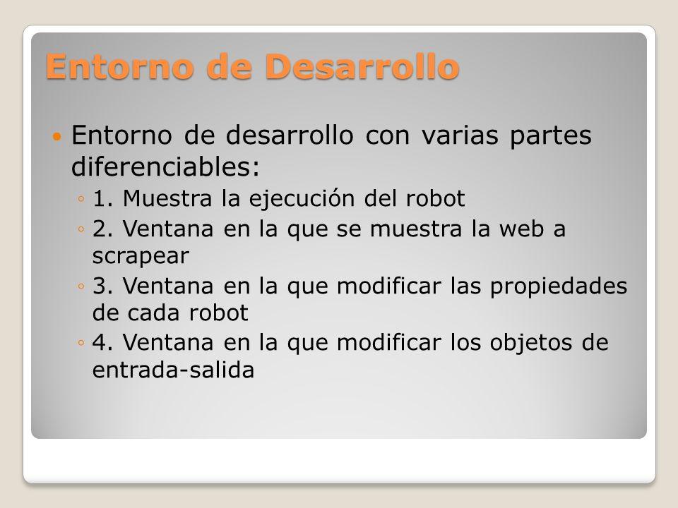 Entorno de Desarrollo Entorno de desarrollo con varias partes diferenciables: 1. Muestra la ejecución del robot.