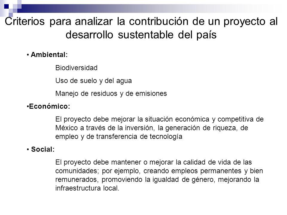 Criterios para analizar la contribución de un proyecto al desarrollo sustentable del país