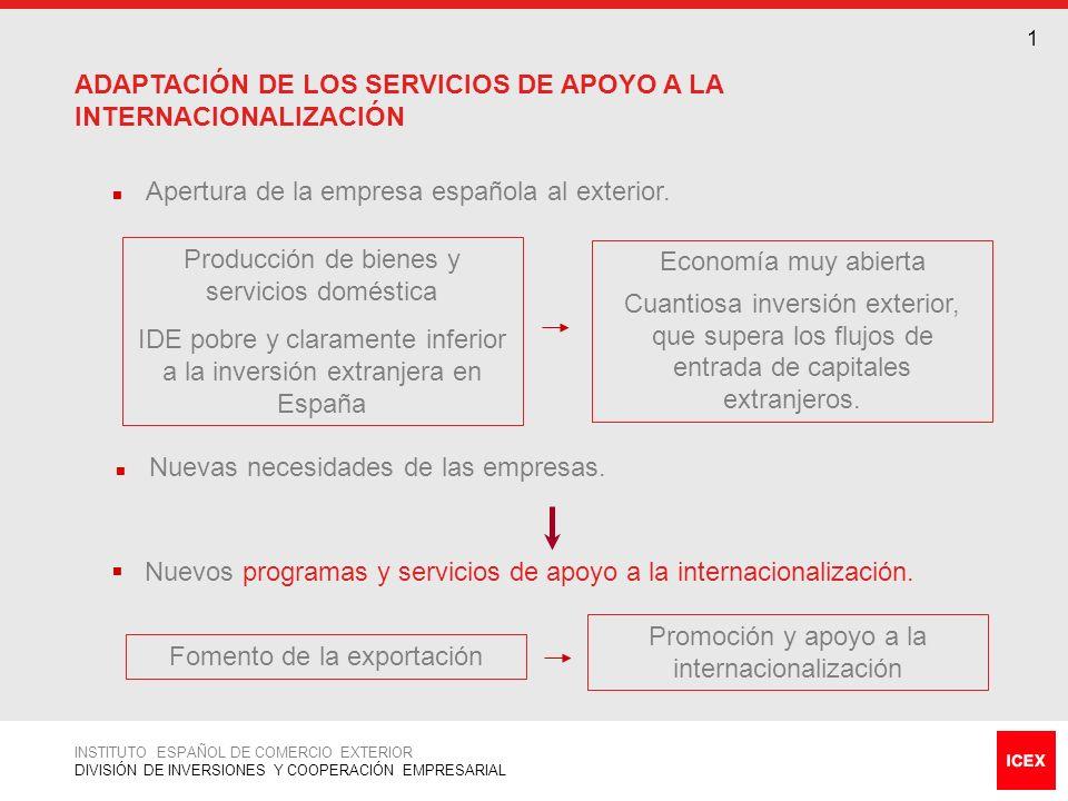 ADAPTACIÓN DE LOS SERVICIOS DE APOYO A LA INTERNACIONALIZACIÓN