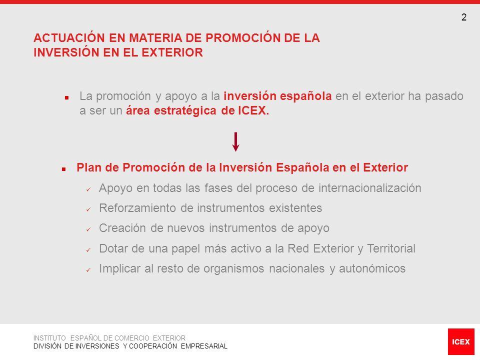 ACTUACIÓN EN MATERIA DE PROMOCIÓN DE LA INVERSIÓN EN EL EXTERIOR