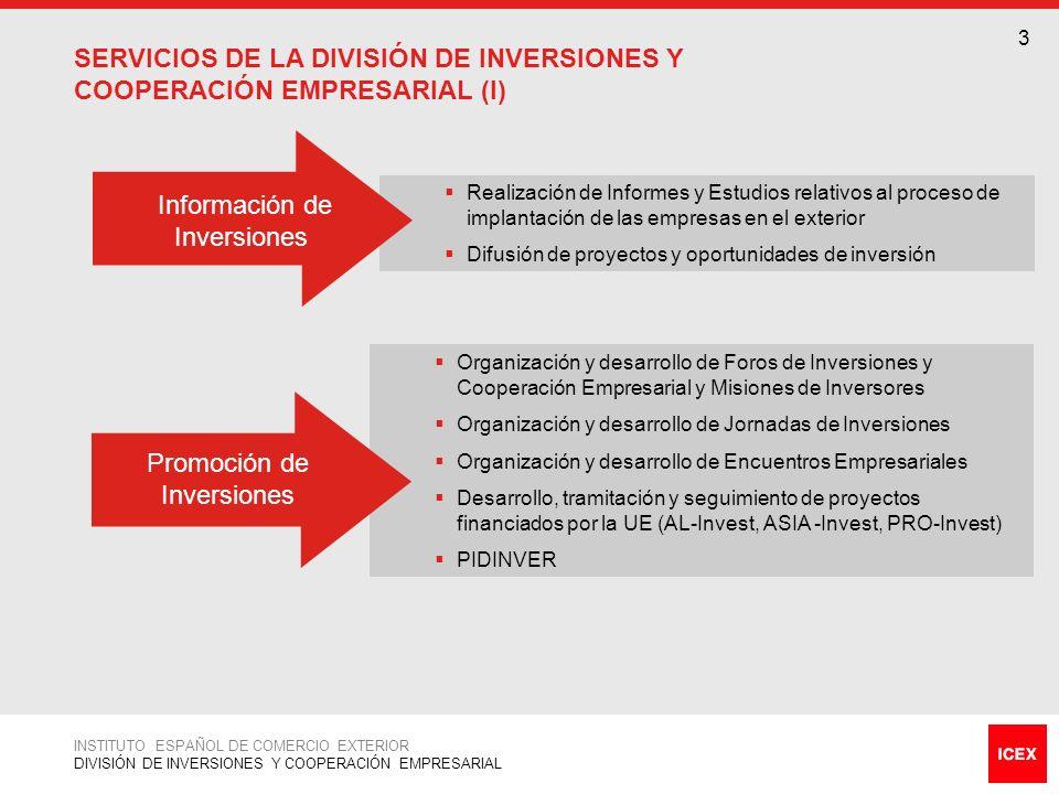 SERVICIOS DE LA DIVISIÓN DE INVERSIONES Y COOPERACIÓN EMPRESARIAL (I)