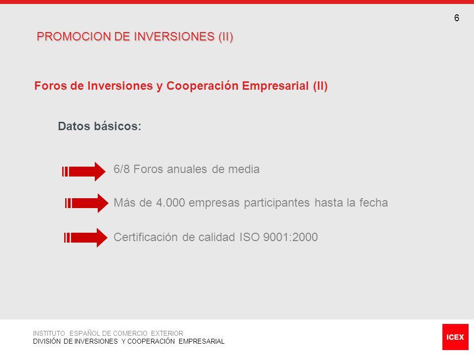 PROMOCION DE INVERSIONES (II)