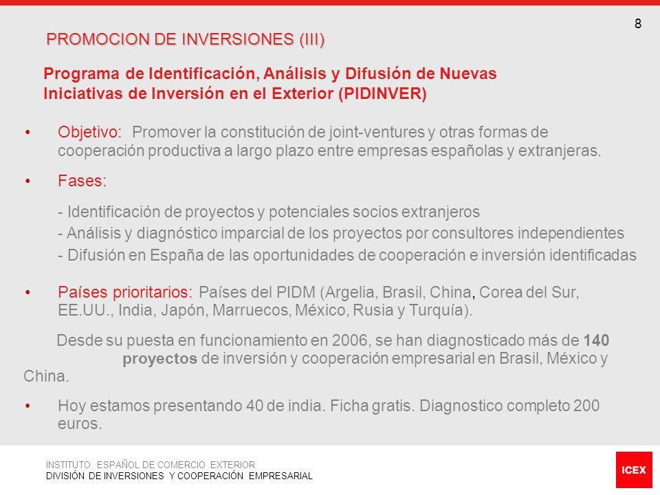 PROMOCION DE INVERSIONES (III)