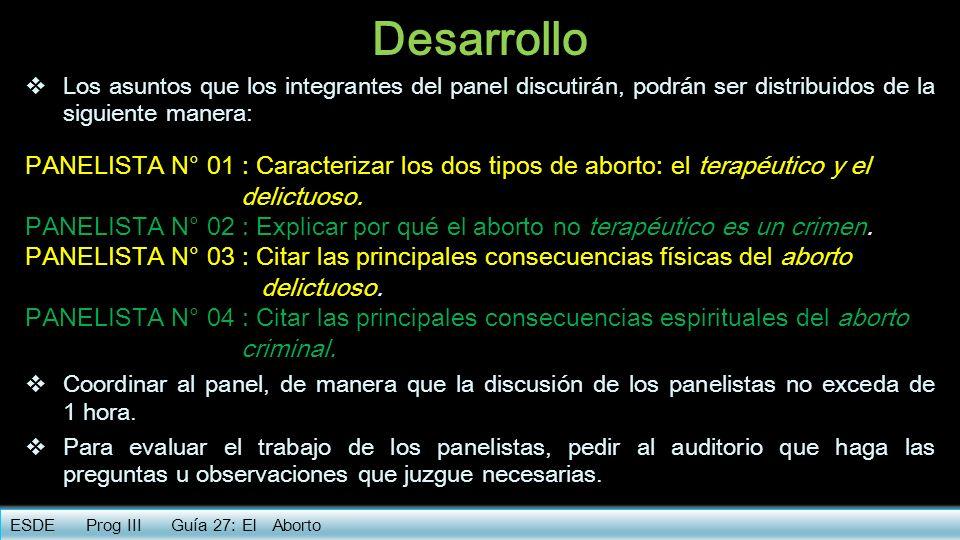 Desarrollo Los asuntos que los integrantes del panel discutirán, podrán ser distribuidos de la siguiente manera: