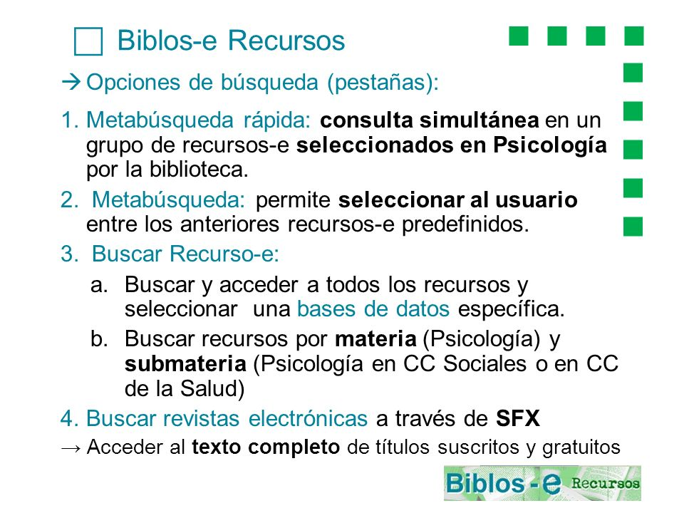 c Biblos-e Recursos Opciones de búsqueda (pestañas):