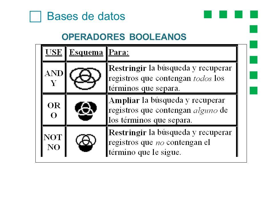 c Bases de datos OPERADORES BOOLEANOS