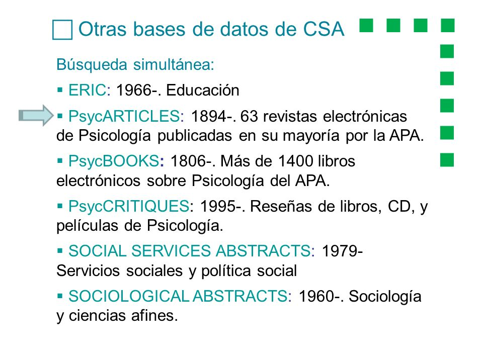 Otras bases de datos de CSA