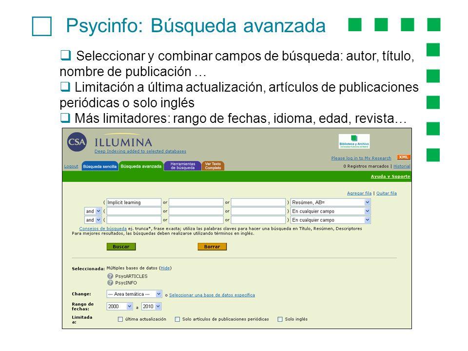c Psycinfo: Búsqueda avanzada